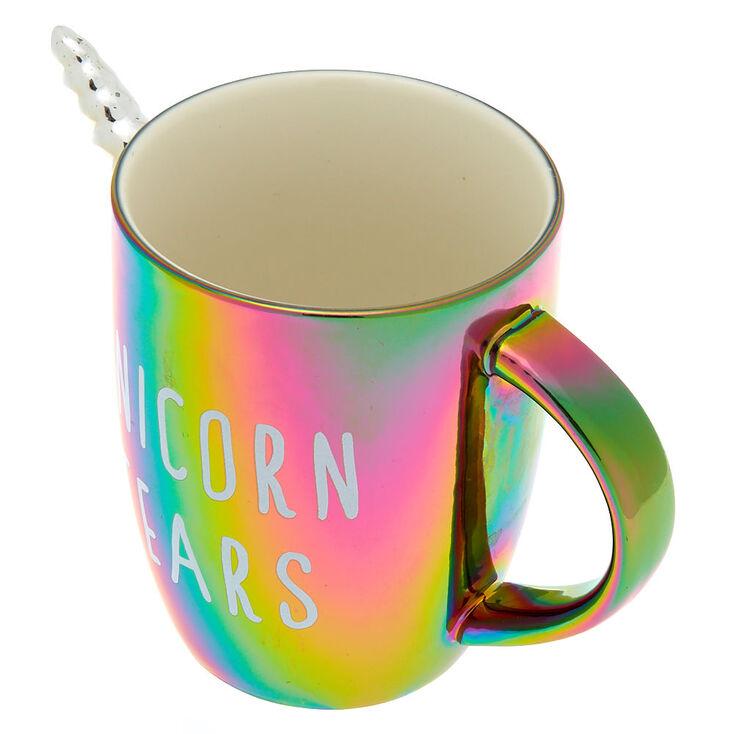 Metallic Ceramic Unicorn Tears Mug - Rainbow,