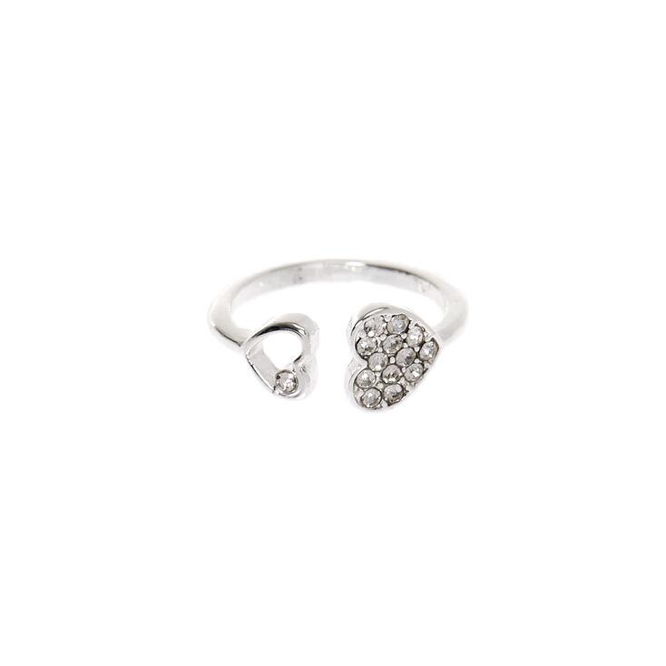 Silver Heart Cuff Midi Ring,