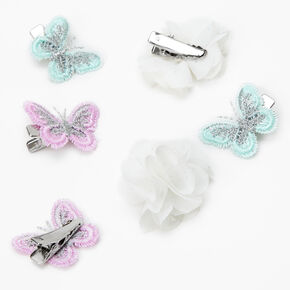 Claire's Club Butterfly Chiffon Hair Clips - 6 Pack,