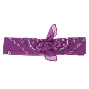 Paisley Bandana Headwrap - Purple,