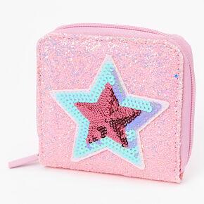 Sequin Star Mini Zip Wallet - Pink,