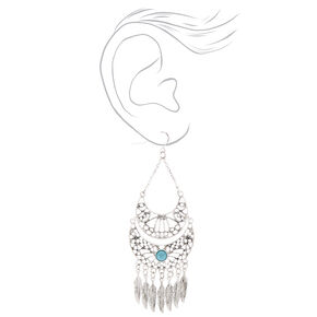 "Silver 3"" Western Feather Drop Earrings - Turquoise,"