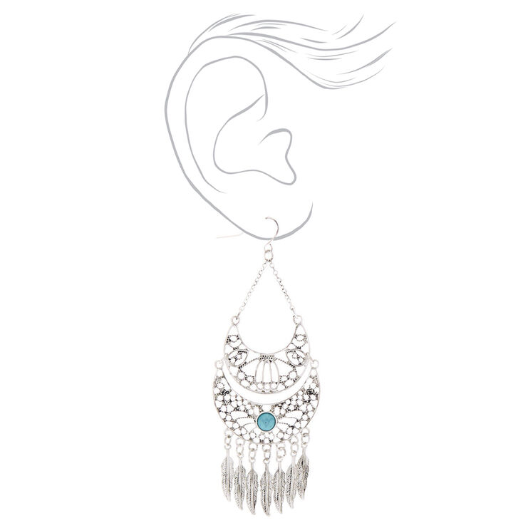 """Silver 3"""" Western Feather Drop Earrings - Turquoise,"""