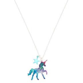 Cosmic Unicorn Glitter Pendant Necklace,