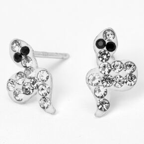 Sterling Silver Embellished Snake Stud Earrings,