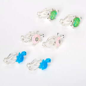 Silver Turtle Mix Clip On Stud Earrings - 3 Pack,