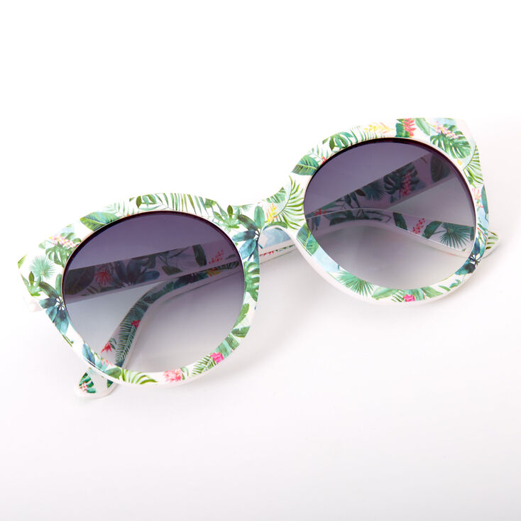 Palm Leaf Rounded Mod Sunglasses - Green,