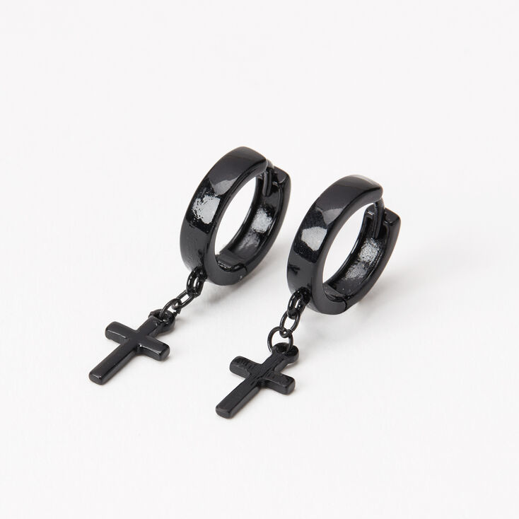 Decorative black hoop earrings