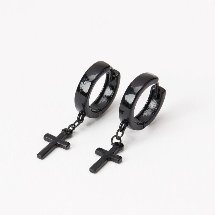 Black 15MM Cross Huggie Hoop Earrings,
