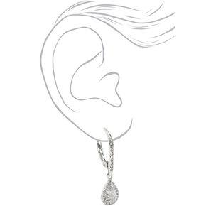 """Silver 2.5"""" Cubic Zirconia Teardrop Lever Drop Earrings,"""