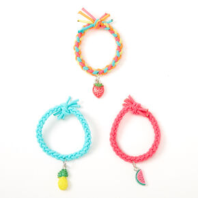 Claire's Club Summer Fruits Braided Stretch Bracelets - 3 Pack,