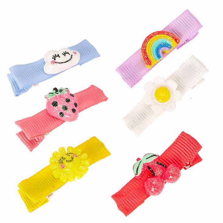 Barrettes à cheveux avec noeud ruban breloque pastel d'été scintillantes pour enfants,