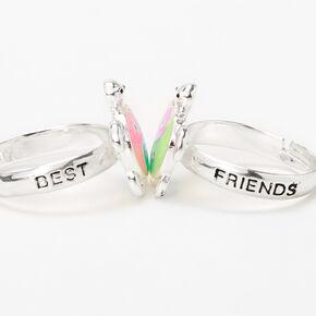 Silver Best Friends Pastel Turtle Yin Yang Rings - 2 Pack,