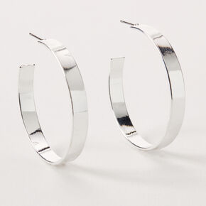 Silver 40MM Thick Hoop Earrings,