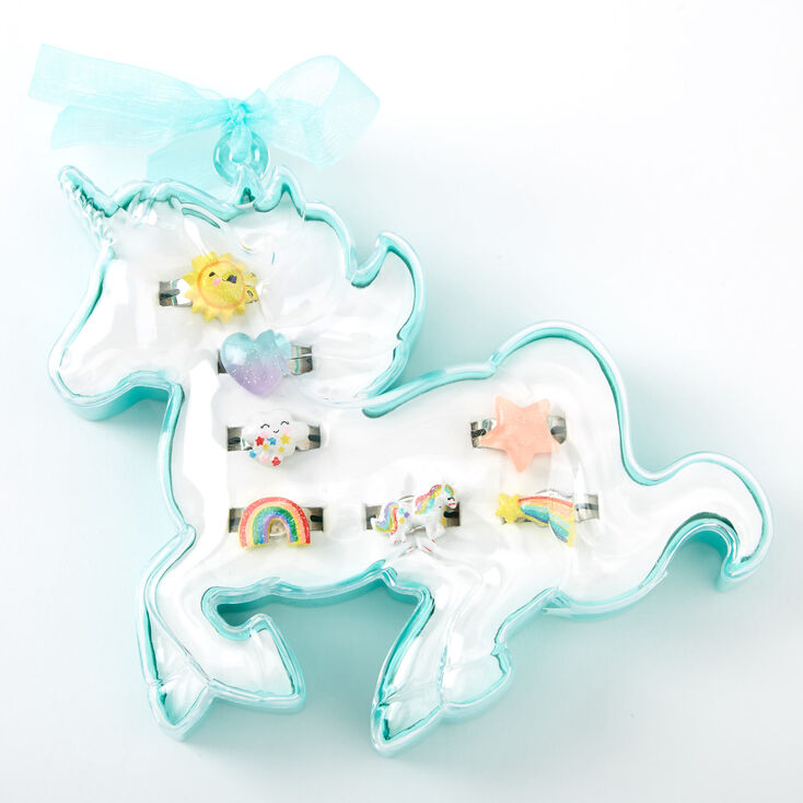 Claire's Club Unicorn Ring Set - 7 Pack,