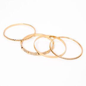 Bracelets fins bangle paillettes et strass incrustés couleur dorée - Lot de 4,