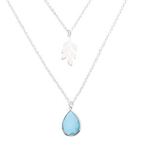 Silver Leaf Teardrop Stone Multi Strand Pendant Necklace - Turquoise,