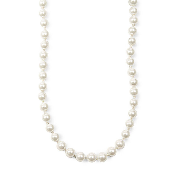 Silver 8MM Pearl Statement Necklace - White,