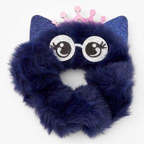 Medium Faux Fur Owl Hair Scrunchie - Navy,