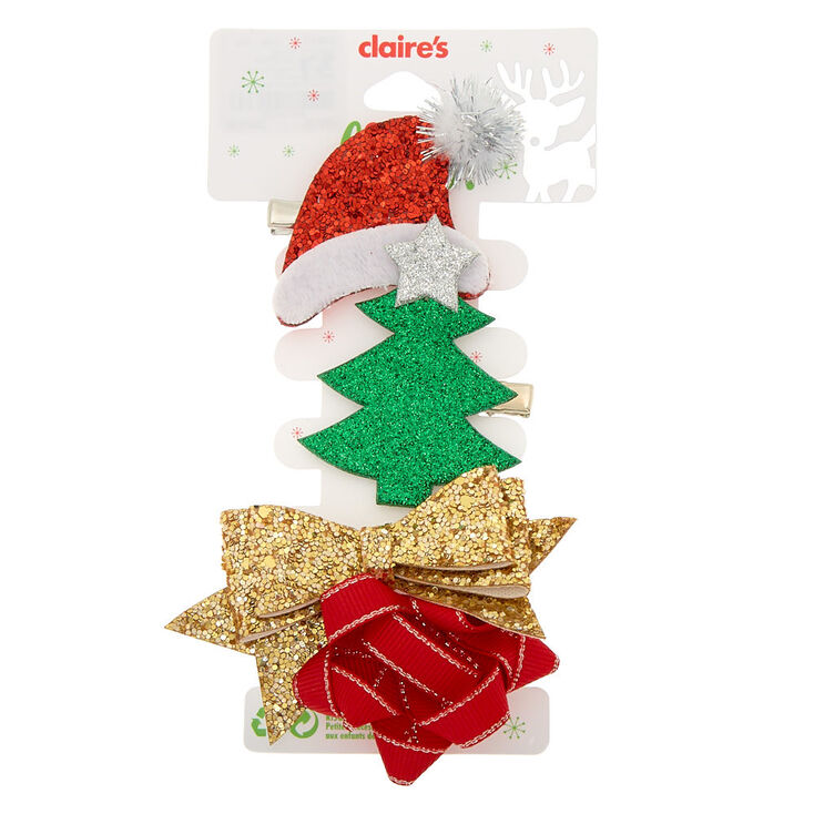 Christmas Hair Clips.Christmas Hair Clips 4 Pack