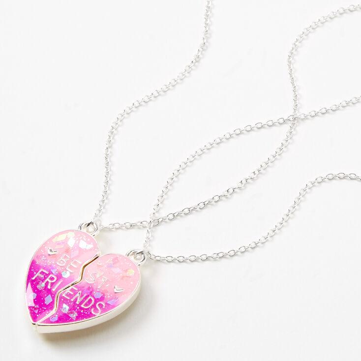 Colliers cœur fendu confettis phosphorescents best friends - Lot de 2,