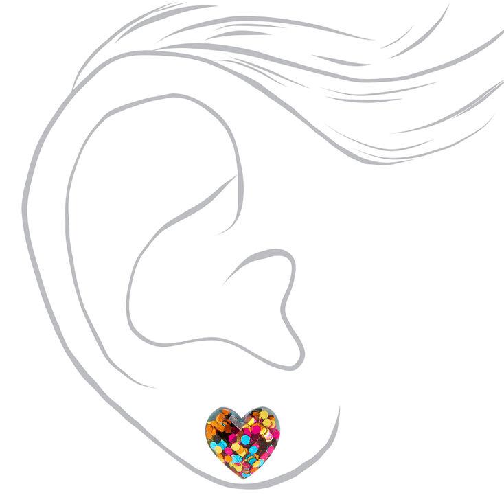 Silver Multicolor Confetti-Filled Heart Stud Earrings,