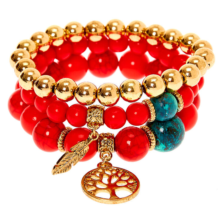 Tree of Life Marble Beaded Stretch Bracelets - Red, 3 Pack,