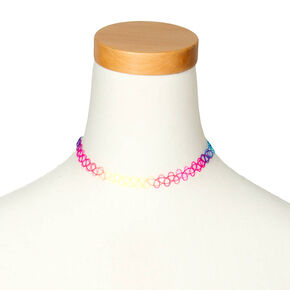 Rainbow Tattoo Choker Necklace,