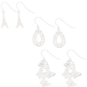 "Silver 1"" Mixed Drop Earrings - 3 Pack,"