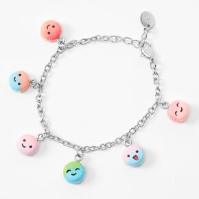 Silver Rainbow Macaron Charm Bracelet,