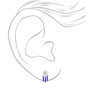 Silver Dreamcatcher Stud Earrings - Purple,