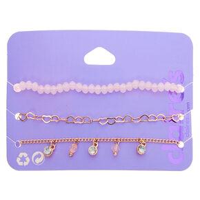 Rose Gold Beaded Heart Chain Bracelets - Blush Pink, 3 Pack,