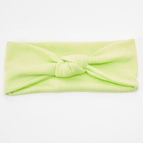 Ribbed Knotted Headwrap - Lime Green,