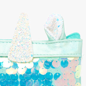 Shiny Sequin Unicorn Coin Purse - Mint,
