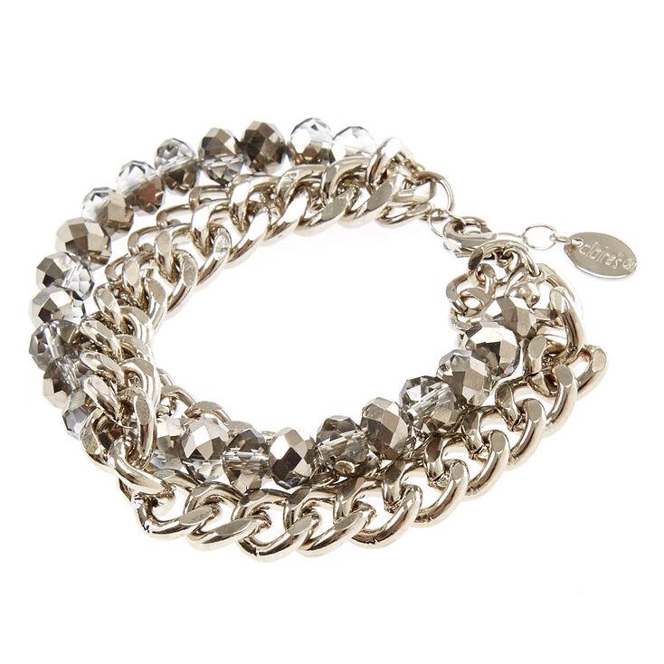 Bracelet à maillons de chaîne multirangs couleur chromée couleur argenté,