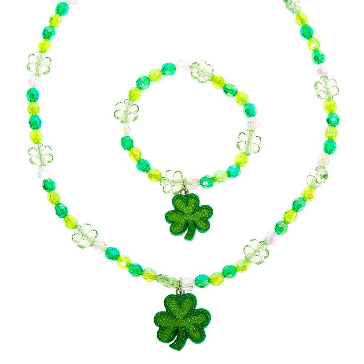 Shamrock Beaded Jewellery Set - Green, 2 Pack,