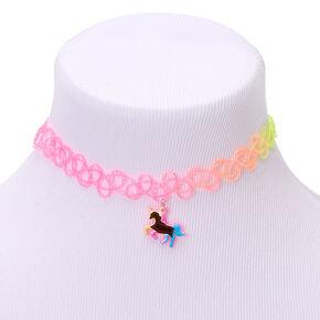 Rainbow Glitter Unicorn Mood Tattoo Choker Necklace,