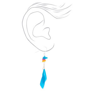 "Silver 2"" Unicorn Feather Drop Earrings - Turquoise,"