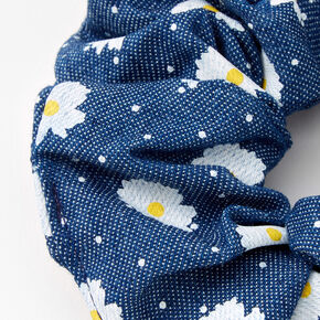 Medium Blue Denim Daisy Dotted Hair Scrunchie,