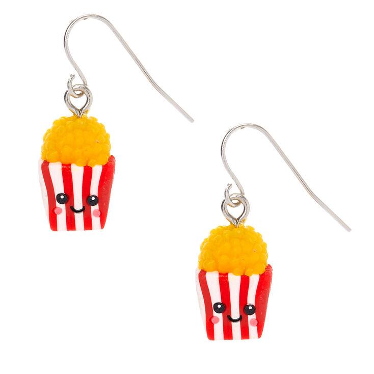 """Silver 1"""" Happy Popcorn Drop Earrings - Red,"""