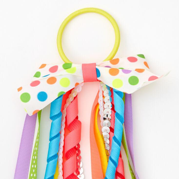 Rainbow Pom Pom Bow Ribbon Hair Tie,