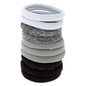 Silver Glitter Hair Ties - 10 Pack,
