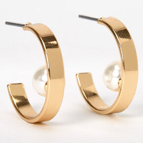 Gold 20MM Single Pearl Hoop Earrings,