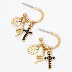 Gold 15MM Cross, Snake & Evil Eye Hoop Earrings,