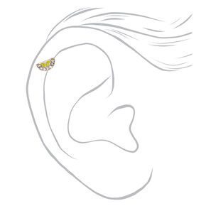 Silver 16G Embellished Lemon Cartilage Stud Earrings - 3 Pack,