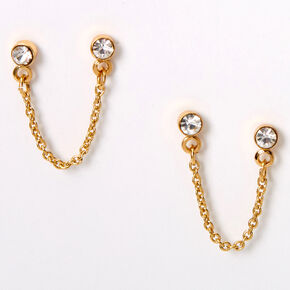 18kt Gold Plated Crystal Connector Stud Earrings,