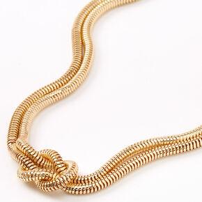 Collier de caractère serpent noué couleur dorée,
