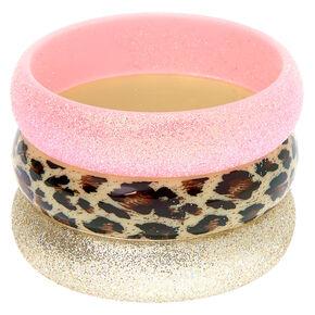 Claire's Club Leopard Bangle Bracelets - 3 Pack,