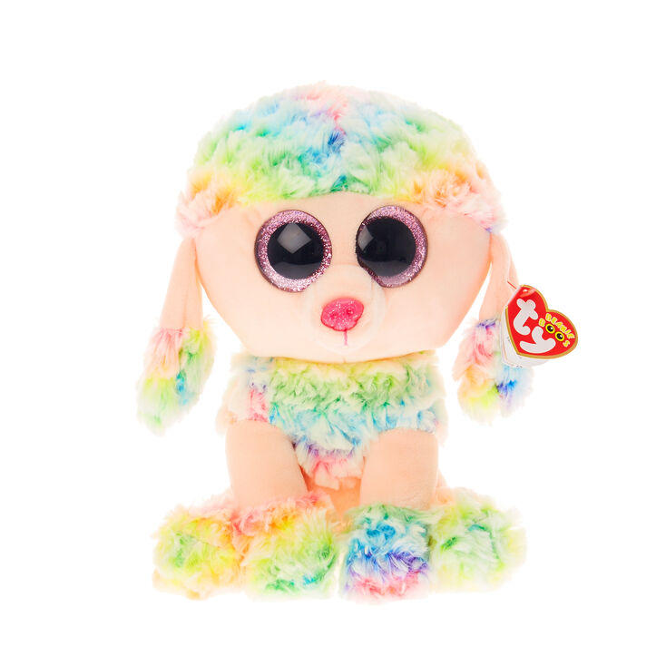 10c09110315 Ty Beanie Boo Medium Rainbow the Poodle Soft Toy