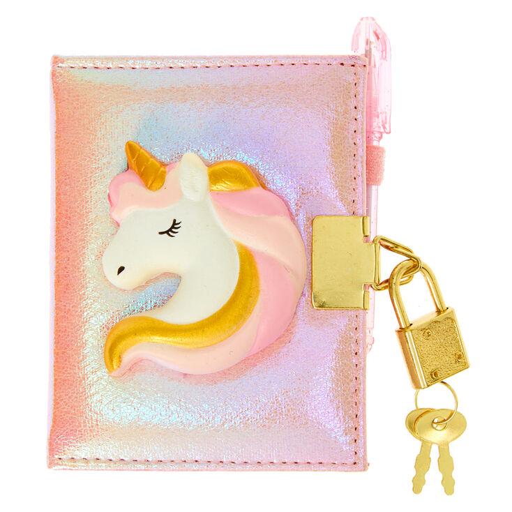 Claire's Club Squish Unicorn Lock Diary - Pink,